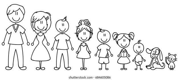 Set of happy cartoon doodle figure family, stick man. Stickman Illustration Featuring a Mother and Father and Kids. Vector Illustration, set of family in stick figures. Hand Drawn.