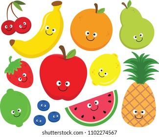 Set of happy cartoon fruit clipart.