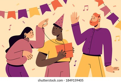 Set of happy cartoon people having fun at birthday party vector flat illustration. Concept of friends characters celebrating holiday. Collection of festive man and woman