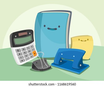 A set of happy cartoon vector illustrations of office supplies, calculator, binder clip, paper puncher, sticky notes and notebook