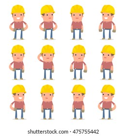 Set of Happy and Cheerful Character Builder standing in relaxed poses for using in presentations, etc.