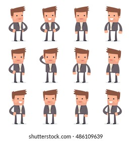 Set of Happy and Cheerful Character Competitor standing in relaxed poses for using in presentations, etc.