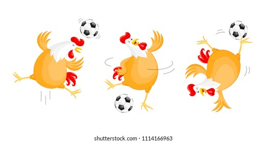 Set of happy chicken playing football. Mascot character, sport concept. Illustration isolated on white background.