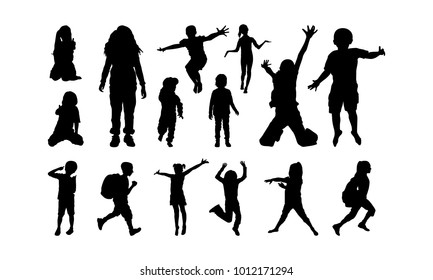 set of Happy Child Playing silhouette vector