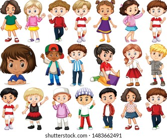 Set of happy children doing different actions illustration