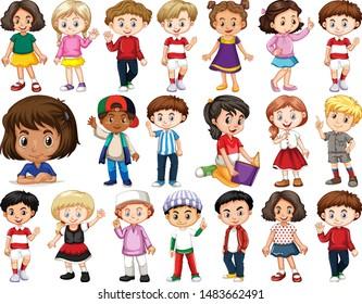 Gruppe glücklicher Kinder, die verschiedene Aktionen anstellen