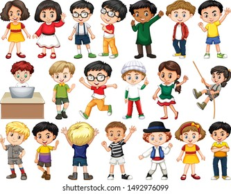 Set of happy children greeting illustration