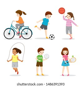 Set Of Happy Children Playing And Exercising Sport For Good Health, Healthy, Exercise, Sport, Activity, Body, Vacations, Holiday