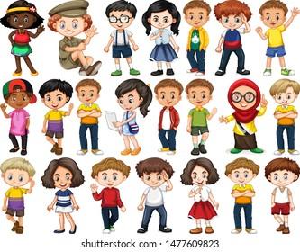 Set of happy children waving hello illustration