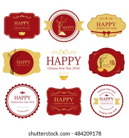 set of happy chinese new year label style retro red and gold color