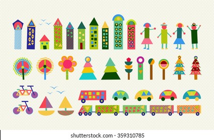 Set of happy colorful geometry city elements. Includes house, people, nature, environment and transport shapes. EPS10 vector.