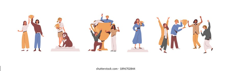 Set of happy competition champions holding golden cups and standing on pedestal. Success of male, female and dog winners awarded with prize. Flat vector illustration isolated on white background