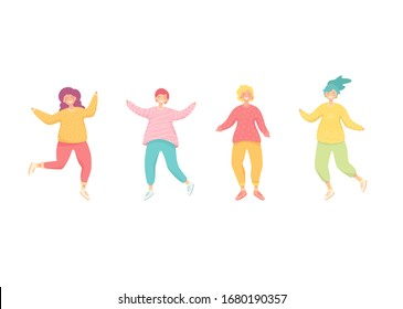 Set of happy dancing women. Young abstract girls in bright clothes in different poses. Vector illustration isolated on white background. Character design. Template of people for party art.