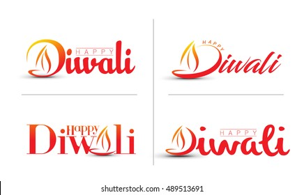 Set of Happy Diwali text Design. Abstract vector illustration.