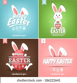 Set Of Happy Easter Cards Illustration With Eggs And Rabbit