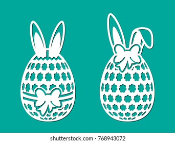 Set of Happy Easter eggs with bow, flowers and ears of rabbit. Laser cutting template. Vector sample elements. Silhouette illustration isolated on green spring background.