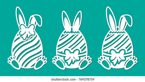 Set of Happy Easter eggs with bow, line, ears and paws of rabbit. Laser cutting template. Vector sample elements. Silhouette illustration isolated on green spring background.