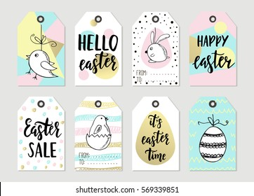 Set happy easter gift tags cards stock vector 569339881 shutterstock set with happy easter gift tags and cards with calligraphy handwritten lettering hand drawn negle Choice Image