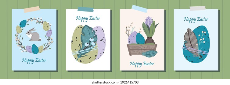 Set of HAPPY EASTER greeting cards. Cute Easter eggs, willow wreath, hyacinth and feathers. Eco-friendly decoration. Vector flat cartoon illustration. Great for poster, postcard, invitation, greeting.