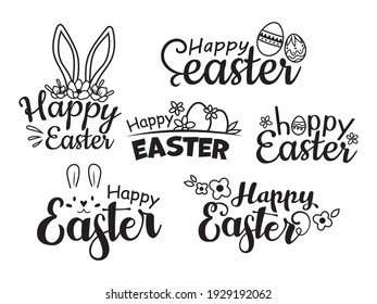 Set of Happy Easter lettering. Collection of lettering with Easter bunny ears and egg. Festive easter logo. Vector illustration isolated on white background.
