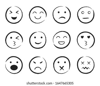 Set of happy face hand drawn style. Sketch smiley, sad, angry face doodle icon. Emoji emoticon for social media. Cartoon people faces on isolated background. Expression emotion. Set line mood. vector