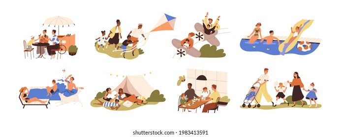 Set of happy families with children during outdoor recreation activities on summer holidays. Parents and kids eating, resting and playing together. Flat graphic vector illustration isolated on white. - Shutterstock ID 1983413591