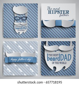 Set of Happy Fathers Day cards design for male event, banner, poster. Striped blue beige backgrounds with paper cut hipster men's face, tie, beard, mustache, glasses. Vector illustration