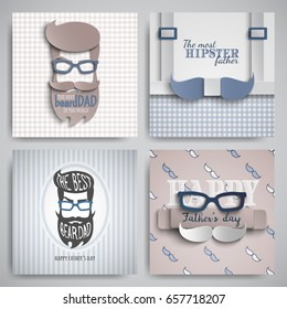 Set of Happy Fathers Day cards design for male event, banner, poster. Checkered or striped blue-beige backgrounds with paper cut hipster, tie, beard, mustache, suspenders, glasses. Vector illustration
