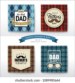 Set of Happy Fathers Day greeting card design