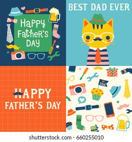 Set of happy father's day greeting card, postcard, poster with cute mustache cat wearing glasses, cute icons and design elements collection. Flat design. Vector illustration.