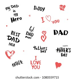 Set of Happy Father's Day quates for cards. Handwritten lettering. Fathers day banners elements. Vector Illustration.