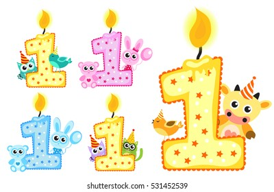 Set Happy First Birthday Candle and Animals Isolated on white background. First birthday template for greeting cards, invitations. Vector illustration
