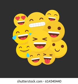 Set of happy flat emojis grouped on the center of a black background