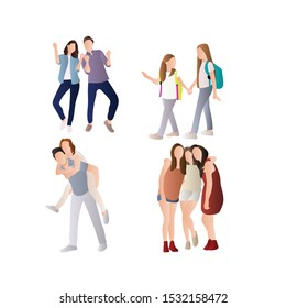 Set of Happy Friendship People. Happy People Having Fun with Bestfriend Hugging Together. Flat Gradation Cartoon Vector Illustration in Colored Style. - Vector