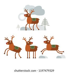Set of happy and funny reindeer standig, walking and jumping