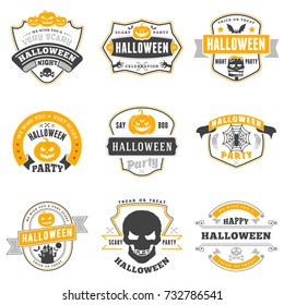 Set of happy Halloween badges or labels. Vector design elements for greetings card, party flyer and promotional materials. Vector illustration