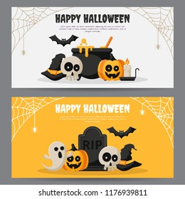 Set of Happy Halloween banner with flat icon. Vector illustration