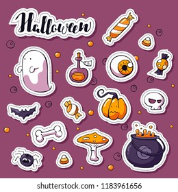 Set of Happy Halloween cartoon stickers. Vector hand drawn objects: pot, bat, skull, ghost, sweets, pumpkin, spider, potion. Label design elements. Halloween lettering.