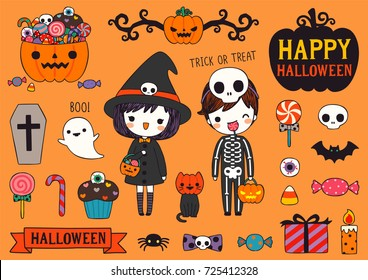 Set of happy halloween day with cute couple boy, girl and cat wearing halloween costumes, cute cartoon icons, text and design elements collection. Flat design. Vector illustration.