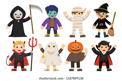 Set of Happy Halloween. Funny children in colorful costumes.