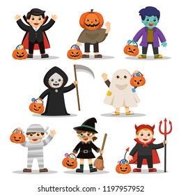 Set of Happy Halloween. Funny children in colorful costumes and pumpkin basket with candy. Ghost , Zombie, Witch, Dracula.