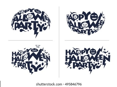 Set of Happy Halloween greeting card Calligraphy - Text design. Halloween banner or poster.