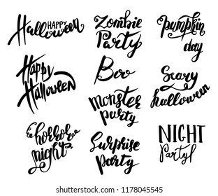 Set of Happy Halloween text. Calligraphy for Magic zombie party. Hand drawn engraved vintage sketch. brush pen lettering for cards posters banners