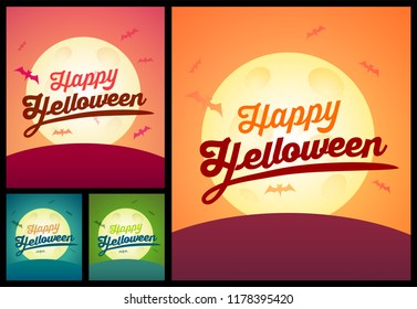 Set of Happy Helloween Greating Cards - Creepy Vector invitation Posters different colors with copy space for signing date, time and place of the party or event.