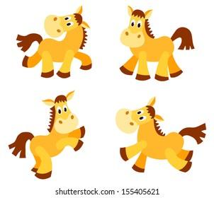 Set of happy horses. Isolated on white. Cartoon vector illustration.
