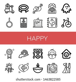 Set of happy icons such as Scooter, Neutral, Trampoline, Sticks, Hearts, Rainbow, Clown, Love, Haunted house, Tricycle, Scare, Broken heart, Mask, Diwali, Monkey, Laugh room , happy