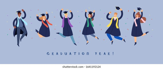 Set of happy jumping young people. Cartoon international students in graduation gown and cap. Educated university or collage graduating man and woman characters. Flat isolated vector banner with text