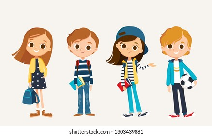 Set of happy kids in different clothes. Cartoon characters School children with books. Education vector.