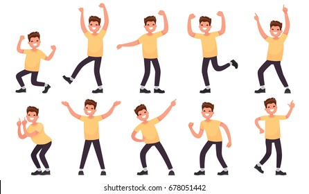 Set of a happy male character. Joyful emotions of a man. Vector illustration in a flat style