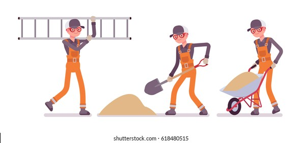 Set of happy male construction worker wearing orange overalll, shoveling sand, carrying a ladder and wheelbarrow, professional builder service, full length, isolated on white background